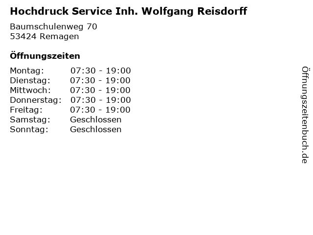 Hochdruck Service Inh. Wolfgang Reisdorff in Remagen: Adresse und Öffnungszeiten