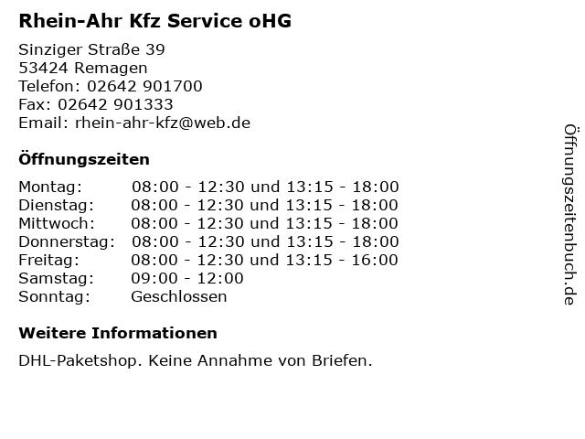 Rhein-Ahr Kfz Service oHG in Remagen: Adresse und Öffnungszeiten