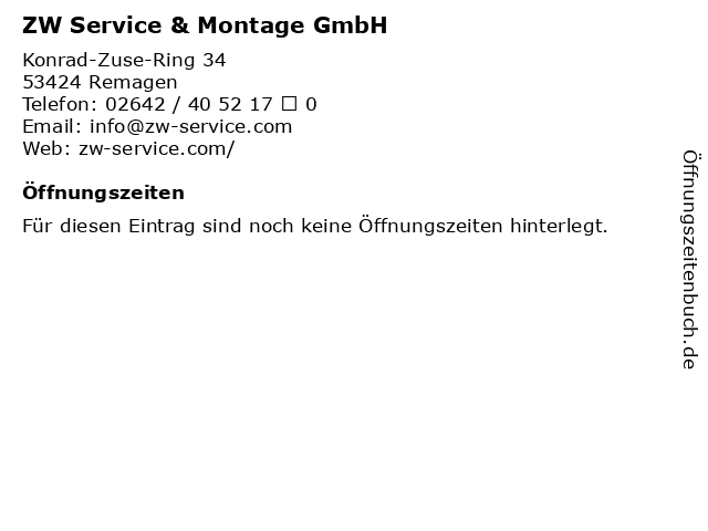 ZW Service & Montage GmbH in Remagen: Adresse und Öffnungszeiten
