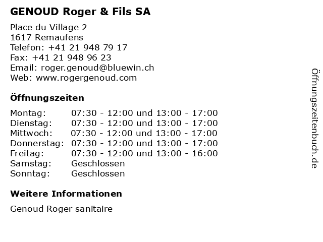 GENOUD Roger & Fils SA in Remaufens: Adresse und Öffnungszeiten