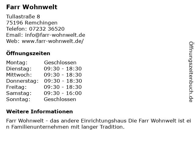 ᐅ Offnungszeiten Farr Wohnwelt Gmbh Tullastr 8 In Remchingen