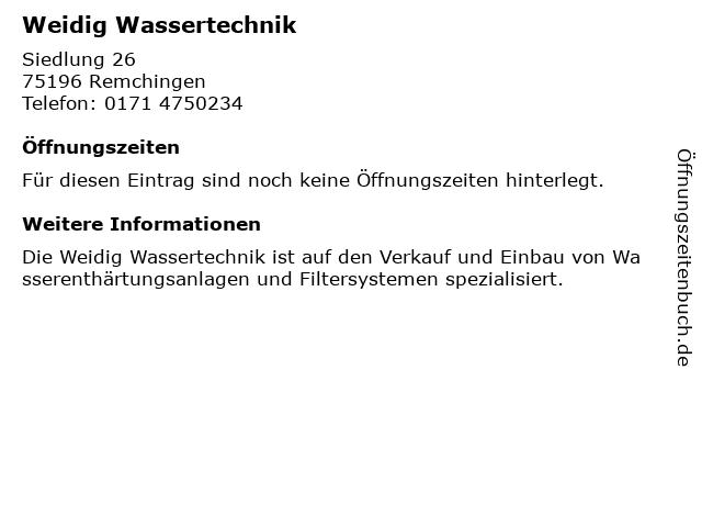 Weidig Wassertechnik in Remchingen: Adresse und Öffnungszeiten