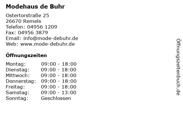 Modehaus de Buhr in Remels: Adresse und Öffnungszeiten