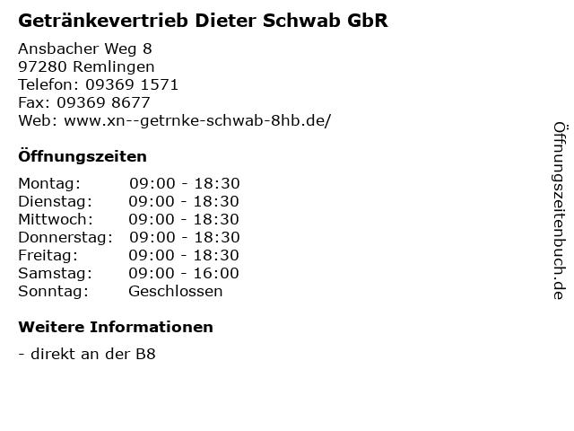 Getränkevertrieb Dieter Schwab GbR in Remlingen: Adresse und Öffnungszeiten