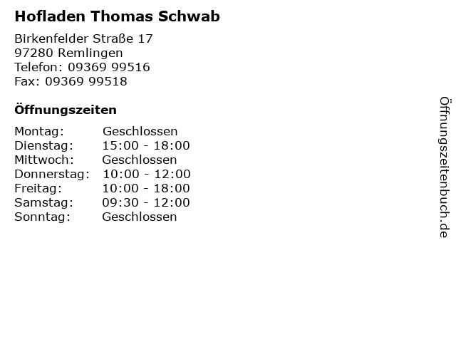 Hofladen Thomas Schwab in Remlingen: Adresse und Öffnungszeiten