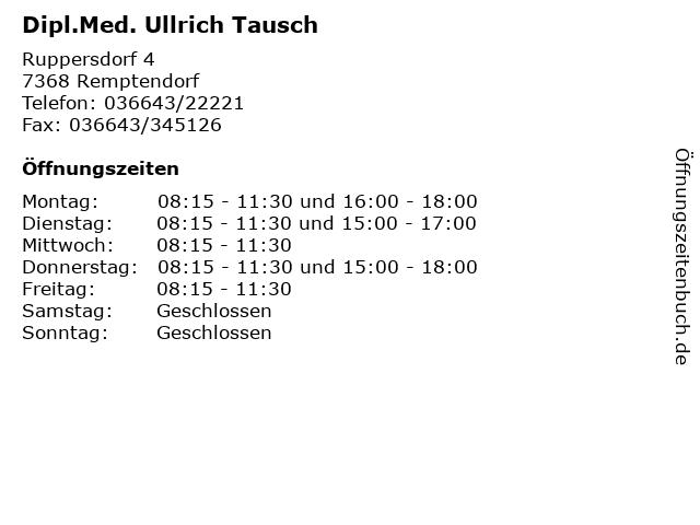 Dipl.Med. Ullrich Tausch in Remptendorf: Adresse und Öffnungszeiten