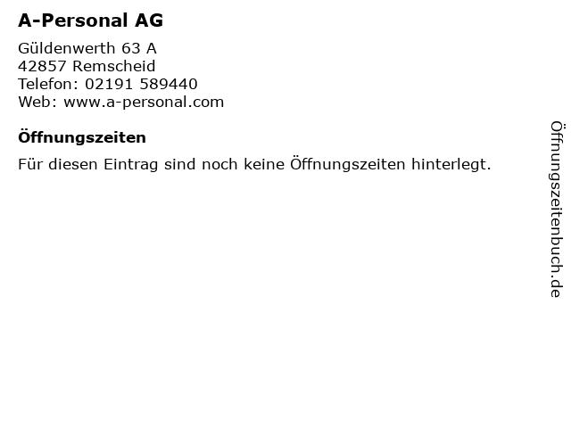 A-Personal AG in Remscheid: Adresse und Öffnungszeiten