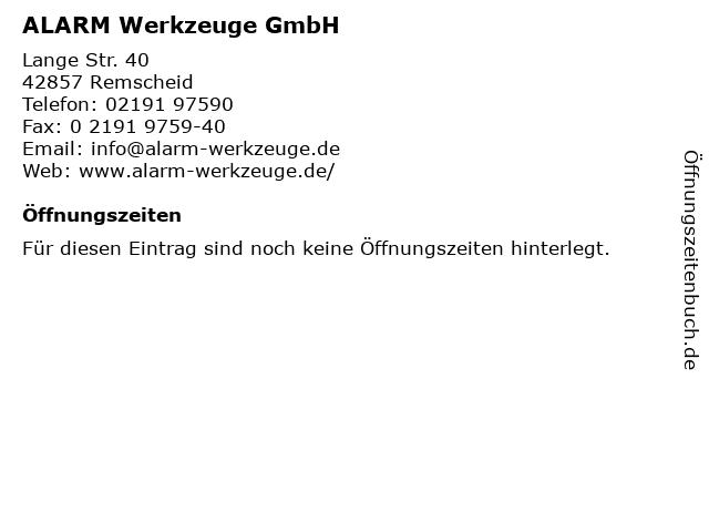ALARM Werkzeuge GmbH in Remscheid: Adresse und Öffnungszeiten