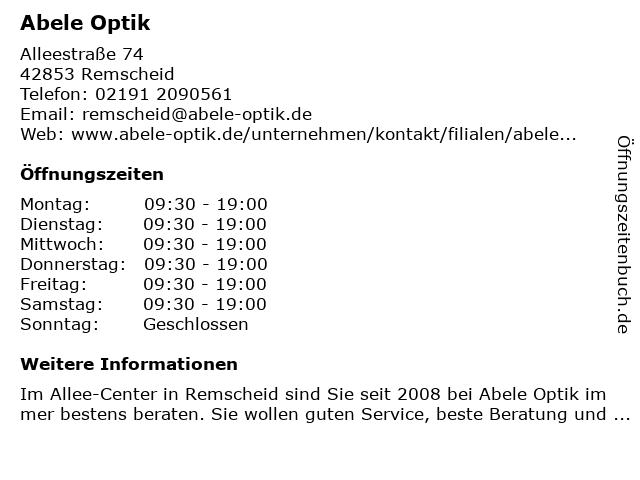 Abele-Optik GmbH in Remscheid: Adresse und Öffnungszeiten