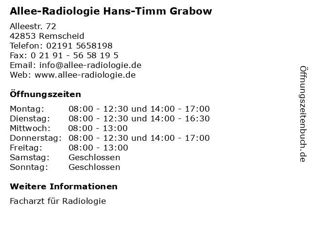 Allee-Radiologie Hans-Timm Grabow in Remscheid: Adresse und Öffnungszeiten