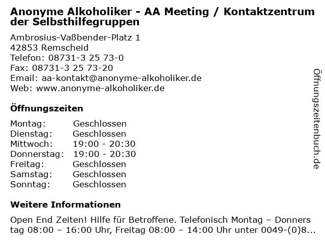 Anonyme Alkoholiker - AA Meeting / Kontaktzentrum der Selbsthilfegruppen in Remscheid: Adresse und Öffnungszeiten