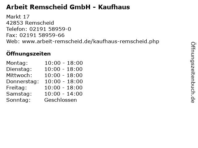 Arbeit Remscheid GmbH - Kaufhaus in Remscheid: Adresse und Öffnungszeiten
