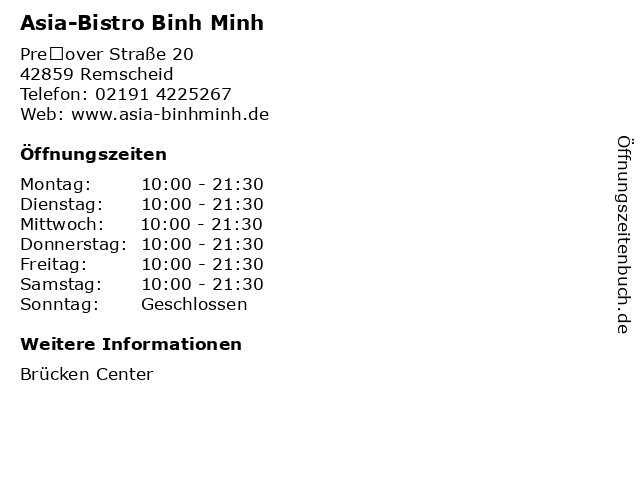 Asia-Bistro Binh Minh in Remscheid: Adresse und Öffnungszeiten