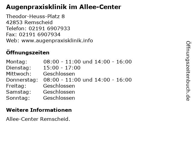 Augenpraxisklinik im Allee-Center in Remscheid: Adresse und Öffnungszeiten