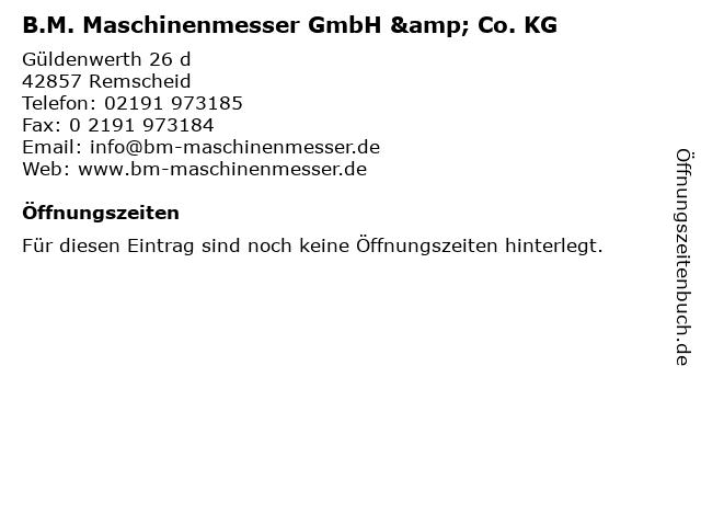 B.M. Maschinenmesser GmbH & Co. KG in Remscheid: Adresse und Öffnungszeiten