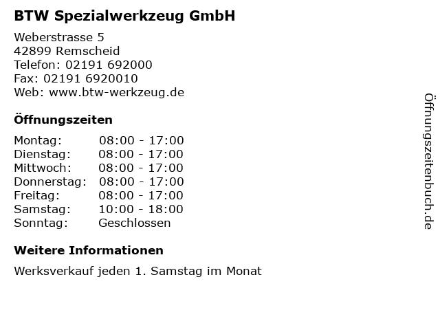 BTW Spezialwerkzeug GmbH in Remscheid: Adresse und Öffnungszeiten