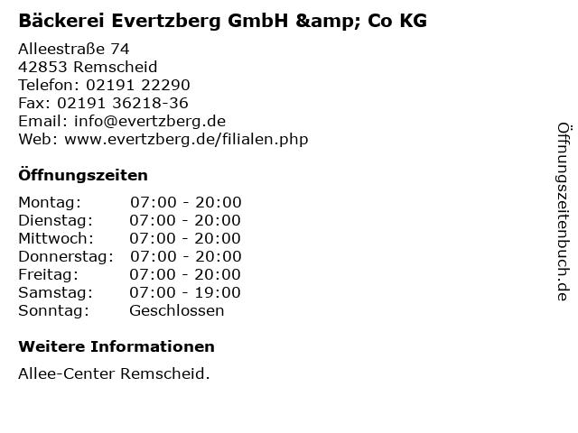 Bäckerei Evertzberg GmbH & Co KG in Remscheid: Adresse und Öffnungszeiten