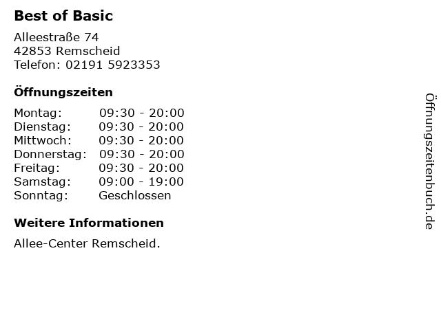 Best of Basic in Remscheid: Adresse und Öffnungszeiten
