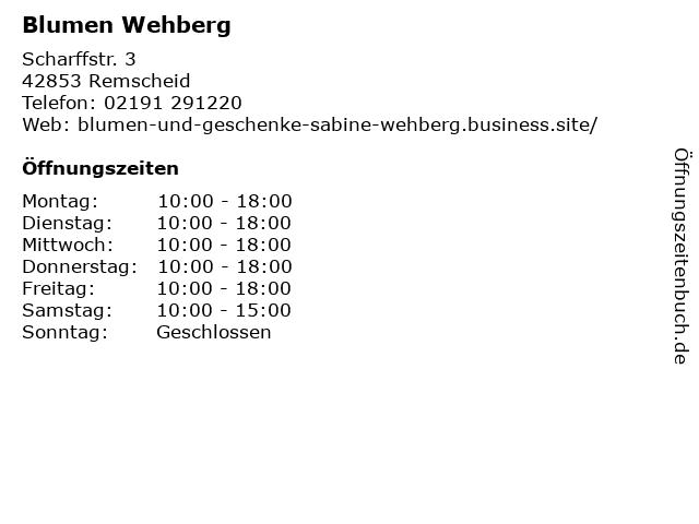 Blumen Wehberg in Remscheid: Adresse und Öffnungszeiten