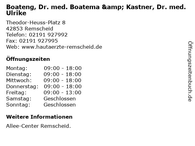 Boateng, Dr. med. Boatema & Kastner, Dr. med. Ulrike in Remscheid: Adresse und Öffnungszeiten