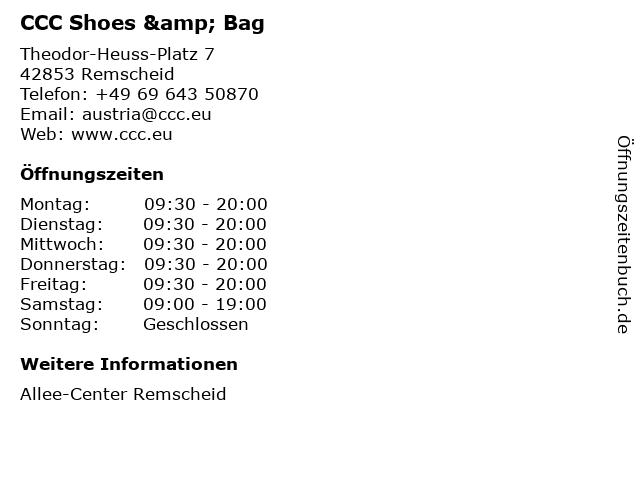 CCC Shoes & Bag in Remscheid: Adresse und Öffnungszeiten