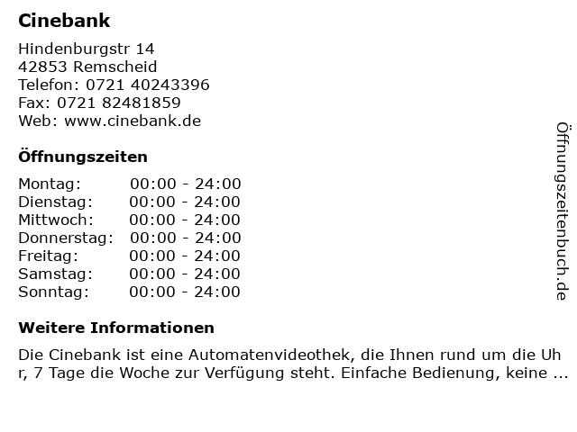 Cinebank in Remscheid: Adresse und Öffnungszeiten
