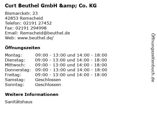 Curt Beuthel GmbH & Co. KG in Remscheid: Adresse und Öffnungszeiten