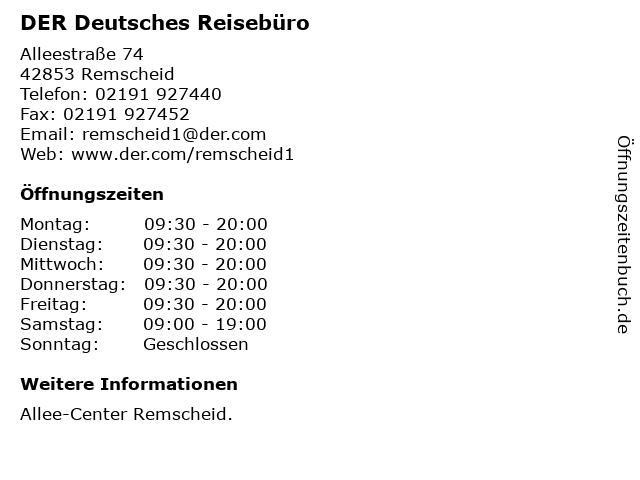 DER Deutsches Reisebüro in Remscheid: Adresse und Öffnungszeiten