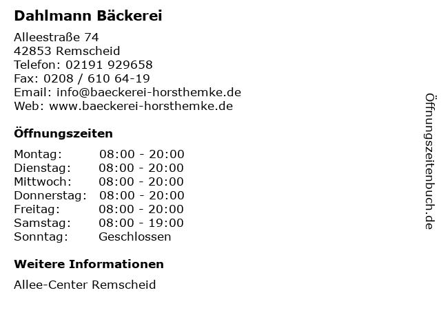 Dahlmann Bäckerei in Remscheid: Adresse und Öffnungszeiten