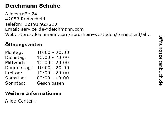 Deichmann Schuhe in Remscheid: Adresse und Öffnungszeiten