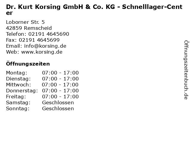 Dr. Kurt Korsing GmbH & Co. KG - Schnelllager-Center in Remscheid: Adresse und Öffnungszeiten