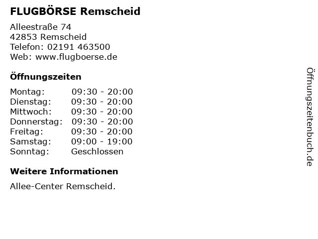 FLUGBÖRSE Remscheid in Remscheid: Adresse und Öffnungszeiten