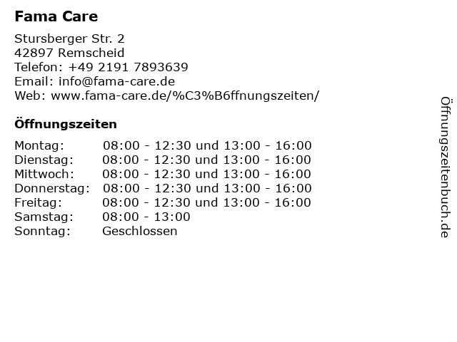Fama Care in Remscheid: Adresse und Öffnungszeiten