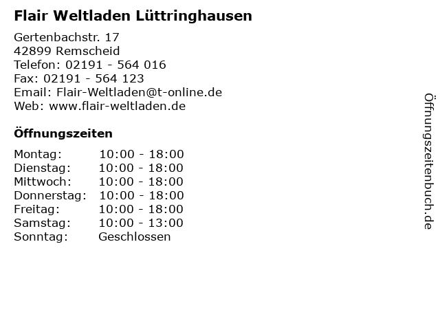 Flair Weltladen Lüttringhausen in Remscheid: Adresse und Öffnungszeiten