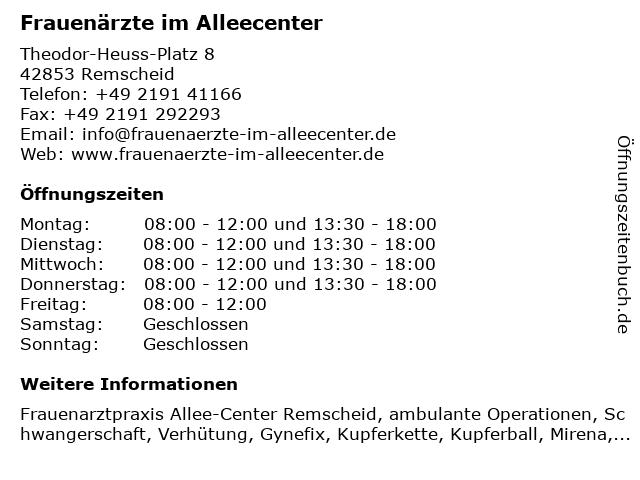 Frauenärzte im Alleecenter in Remscheid: Adresse und Öffnungszeiten