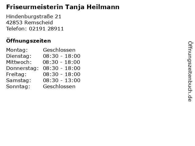 Friseurmeisterin Tanja Heilmann in Remscheid: Adresse und Öffnungszeiten
