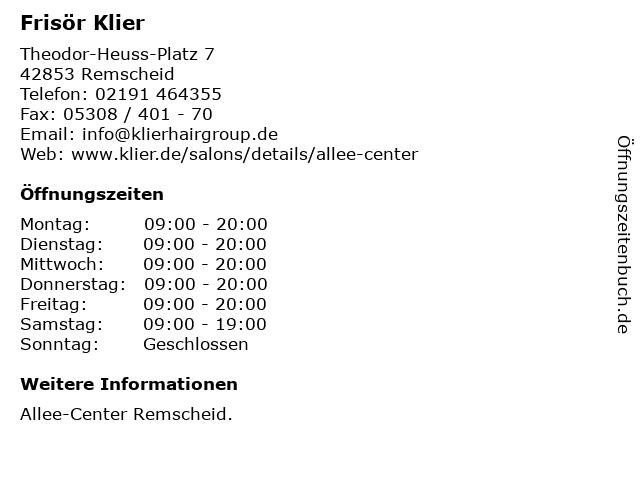 Frisör Klier GmbH in Remscheid: Adresse und Öffnungszeiten