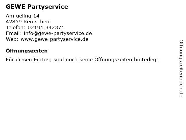 GEWE Partyservice in Remscheid: Adresse und Öffnungszeiten
