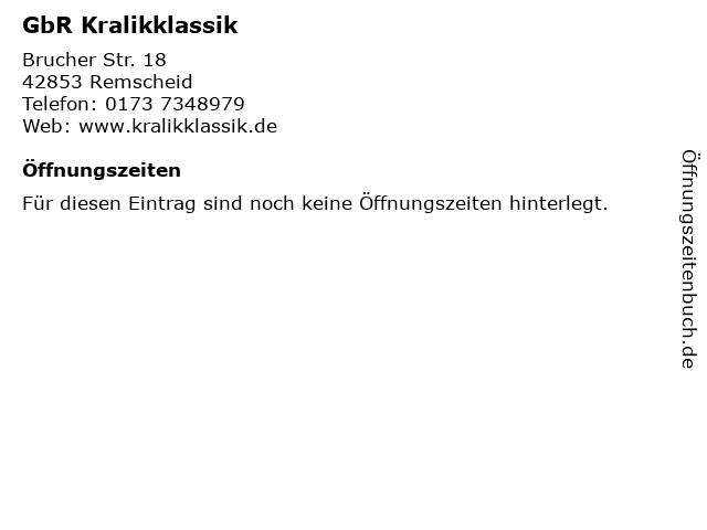 GbR Kralikklassik in Remscheid: Adresse und Öffnungszeiten