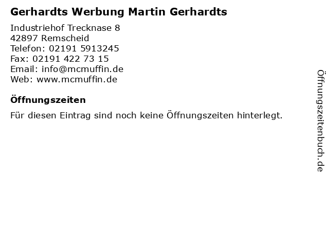 Gerhardts Werbung Martin Gerhardts in Remscheid: Adresse und Öffnungszeiten