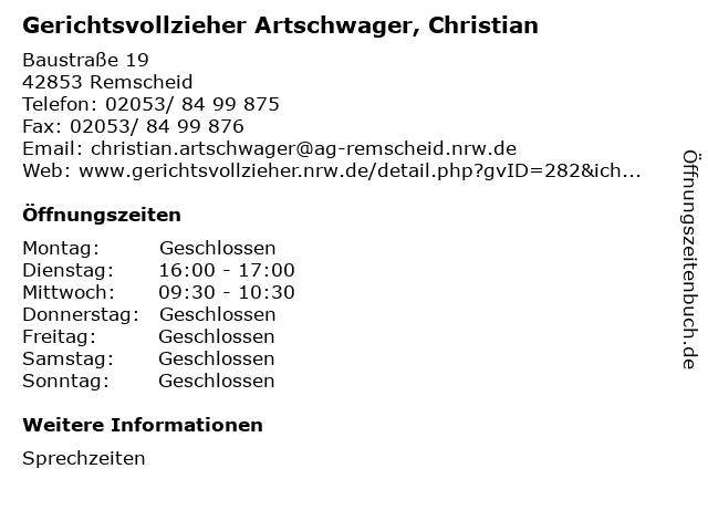 Gerichtsvollzieher Artschwager, Christian in Remscheid: Adresse und Öffnungszeiten