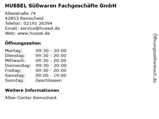 HUSSEL Süßwaren Fachgeschäfte GmbH in Remscheid: Adresse und Öffnungszeiten