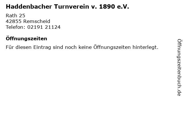 Haddenbacher Turnverein v. 1890 e.V. in Remscheid: Adresse und Öffnungszeiten