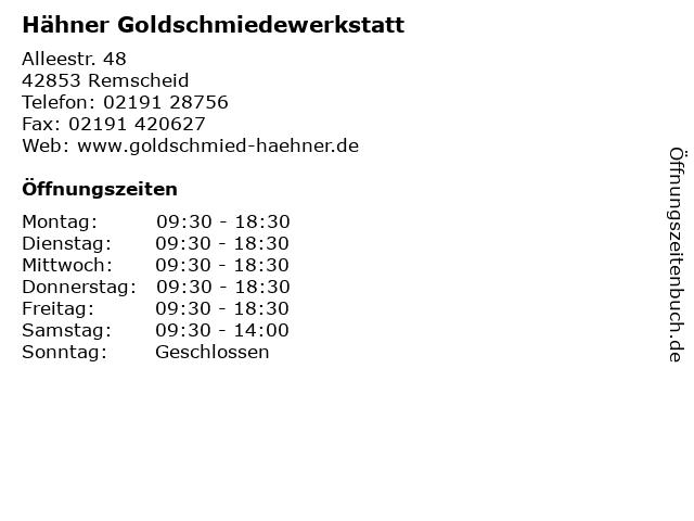 Hähner Goldschmiedewerkstatt in Remscheid: Adresse und Öffnungszeiten