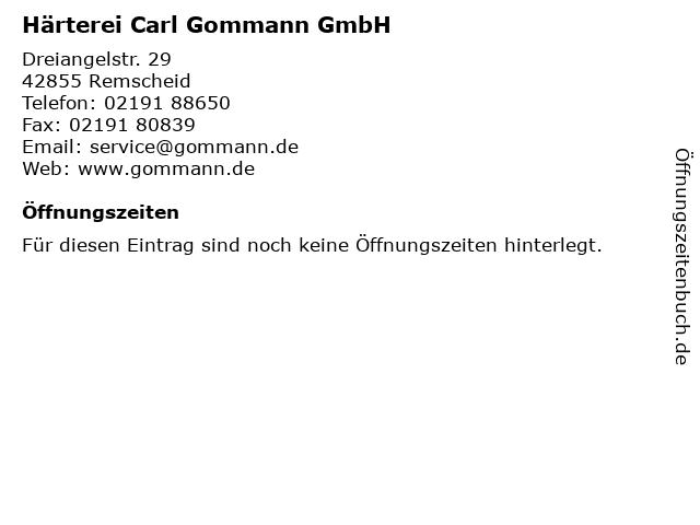 Härterei Carl Gommann GmbH in Remscheid: Adresse und Öffnungszeiten