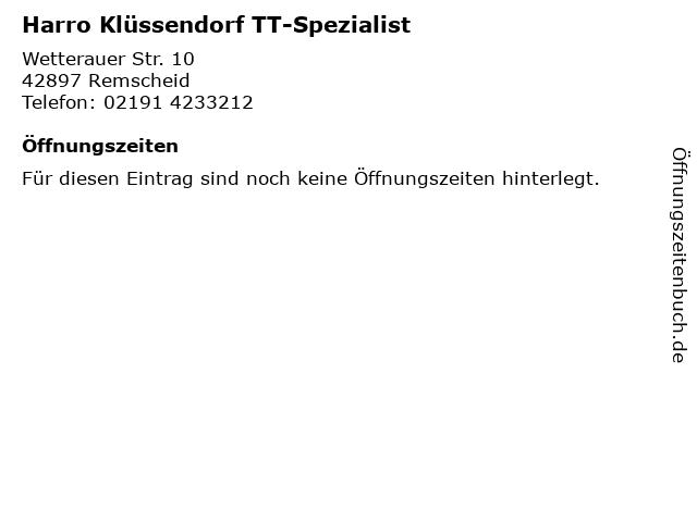 Harro Klüssendorf TT-Spezialist in Remscheid: Adresse und Öffnungszeiten