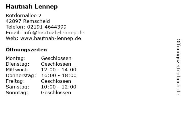 Hautnah Lennep in Remscheid: Adresse und Öffnungszeiten