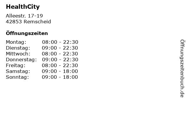HealthCity in Remscheid: Adresse und Öffnungszeiten
