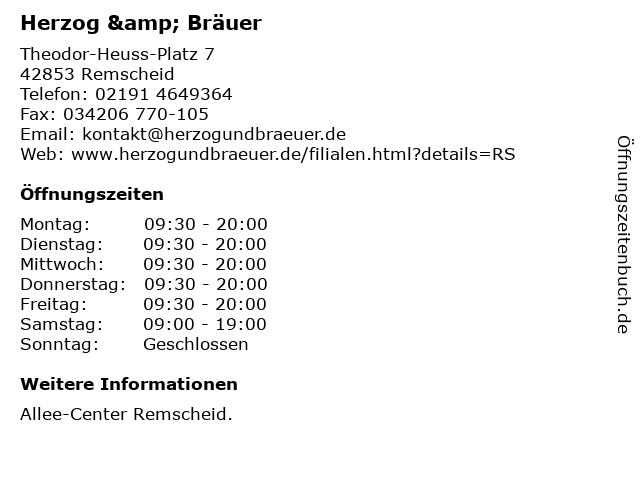 Herzog & Bräuer Handels GmbH & Co. KG in Remscheid: Adresse und Öffnungszeiten