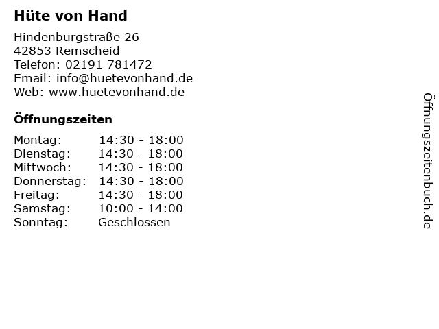 Hüte von Hand in Remscheid: Adresse und Öffnungszeiten